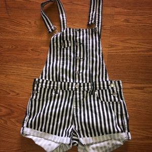 Striped Short Overalls